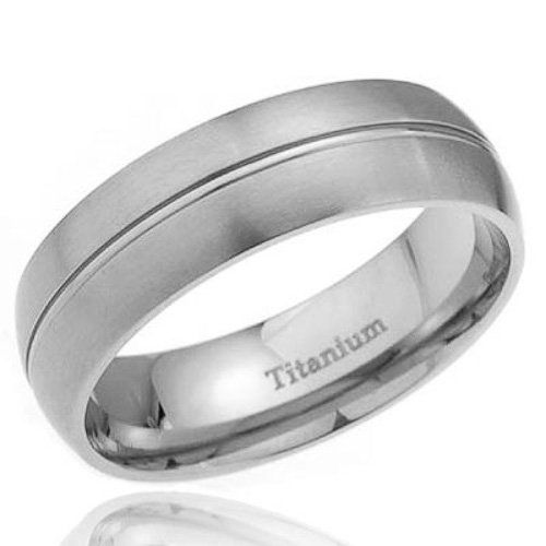 Cool mm Satin Dome Top Grooved Center Titanium Wedding Band Men us Engagement Ring FlameReflection