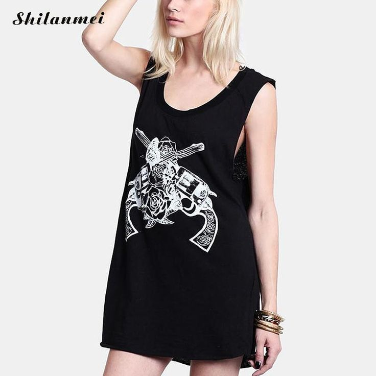 >> Click to Buy << Apparel Punk Rock T-Shirt Women Casual Skull Printed Sleeveless Tops Tees Loose Black Backless Street vest fitness top for women #Affiliate