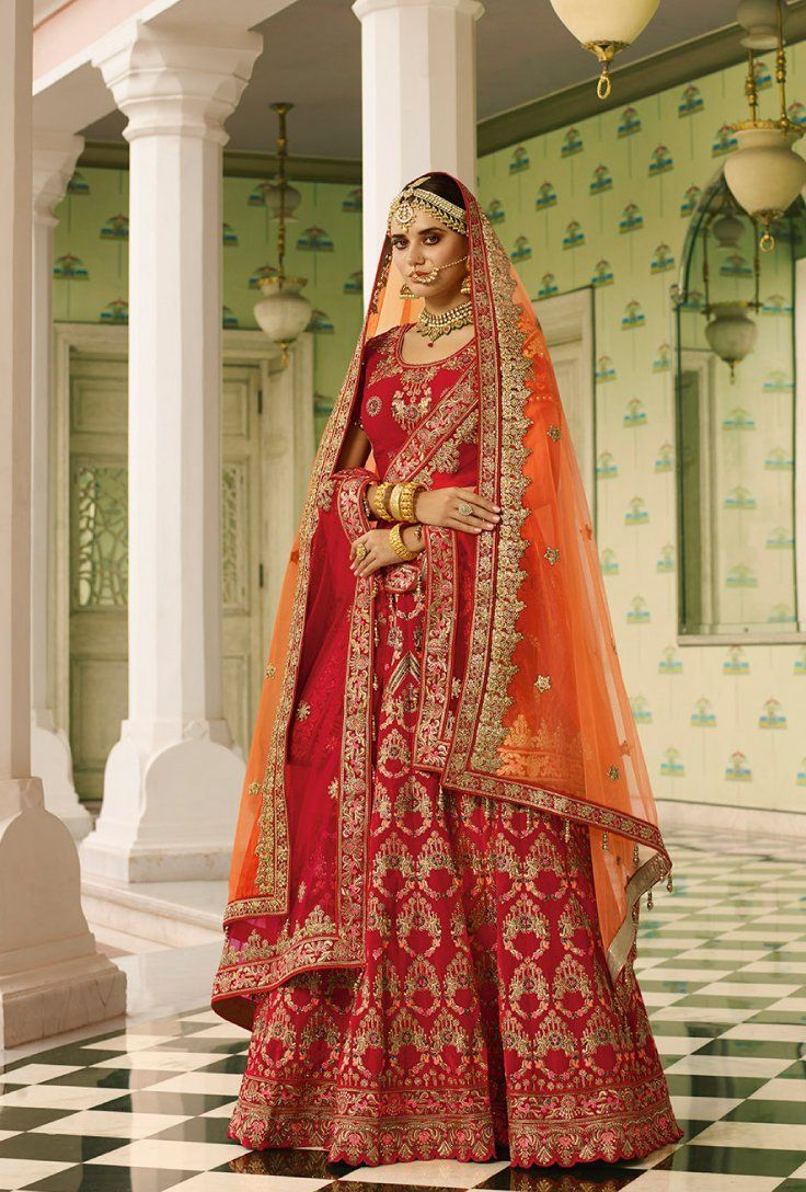 351a409aab Featuring red bridal lehenga set with heavy intricate thread embroidery on  top, back, bottom and dupatta.. TOP: Velvet BOTTOM: Velvet DUPATTA: Net  WORK: ...