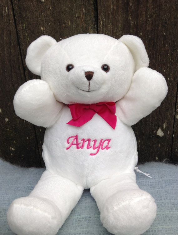 10 best baby shower ideas images on pinterest valentine day personalized baby gift white teddy bear by worldclassembroidery valentines gift baby bear negle Images