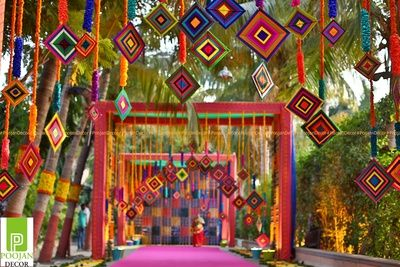 mehendi decor, mehendi entrance decor, colourful decor ideas, hanging patterns