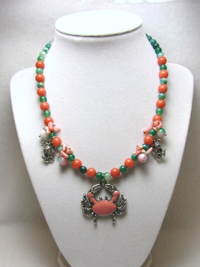 I'm Not Crabby - Jewelry creation by Linda Foust