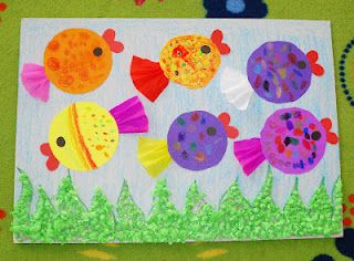 Cute fish out of tissue paper and construction paper