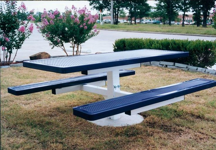 "Commercial picnic tables.The Innovated Style features smaller hole size creating a smoother surface. The small hole 11 guage punched steel holes are equal to or will exceed the load bearing capacities of 3/4"" 9 guage expanded metal. The tables shown on this page have a 4"" square pedestal base #picnictable."