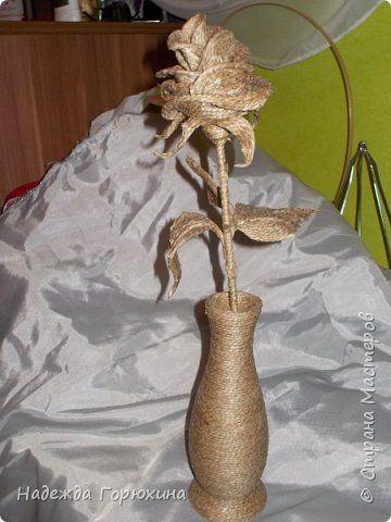 Поделка изделие Роза/джутовая филигрань+ Клей Шпагат фото 8