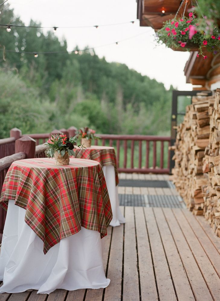 Red and Taupe Plaid Cocktail Table Linens   Laura Murray Photography https://www.theknot.com/marketplace/laura-murray-photography-denver-co-610009