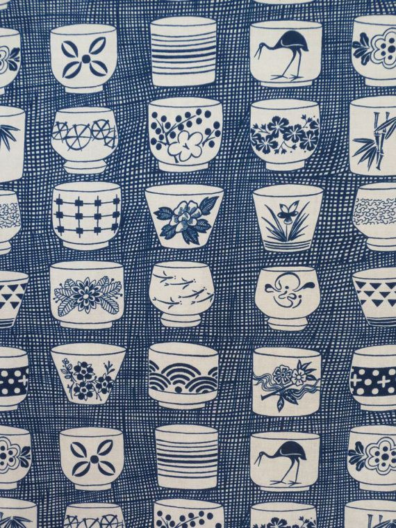 Indigo Japanese Tea Cup Print Pure Cotton by fabricsandtrimmings, $9.98