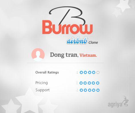 """4 star review for Burrow  A word from Dong tran about Agriya's #airbnbclone  """"Thanks you very much for your awesome product! I would love to buy more plugins from you and I hope we have long cooperation.""""  For more Burrow reviews: http://customers.agriya.com/products/burrow/reviews"""