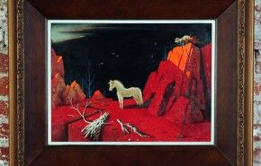 """Irv Wyner """"White Horse in Red Surreal Landscape"""" Oil Painting – ID# 1364 - $1,020.00 #antiques #Irv Wyner """"White Horse in Red Surreal Landscape"""" Oil Painting"""