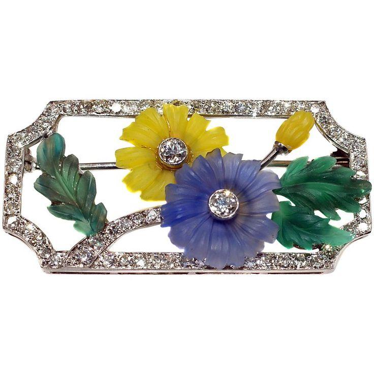 Austrian Art Deco Platinum Diamond Carved Crystal Brooch 1
