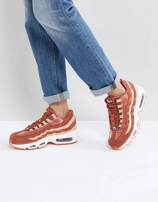 promo code 7d714 4e2f2 Nike Air Max 95 Velvet Trainers In Dusty Peach