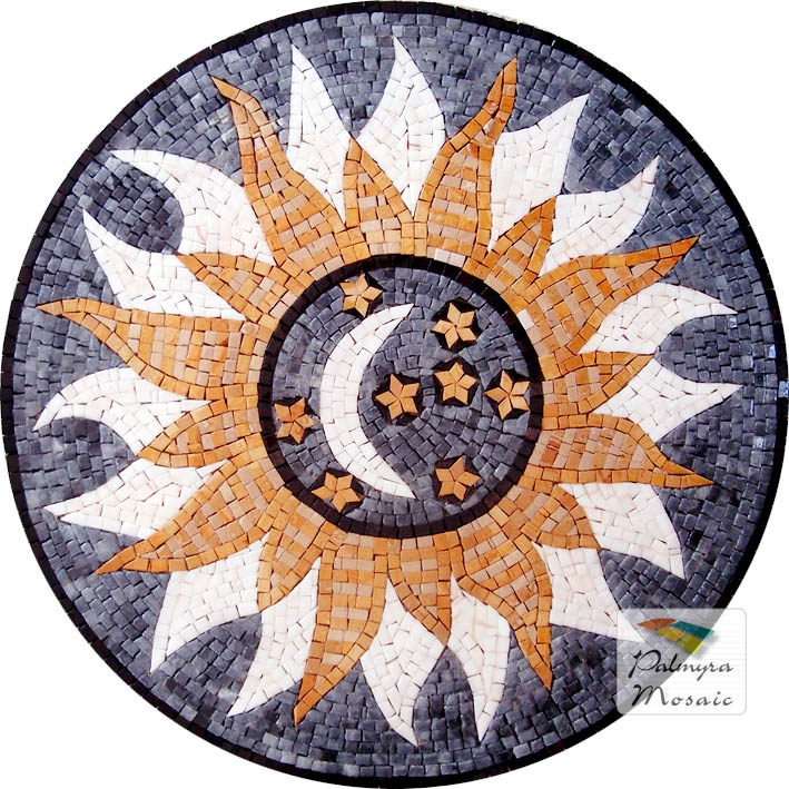 MD058 Marble Mosaic Sun Medallion Tile Moon, Stars and Sun; Fully handmade marble mosaic medallion tile, made up of natural marble tesserae.
