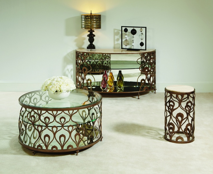 American Drew Bob Mackie 3 Piece Coffee Table Set W/ Brown Metal Base    Contemporary   Coffee Table Sets   Beyond Stores