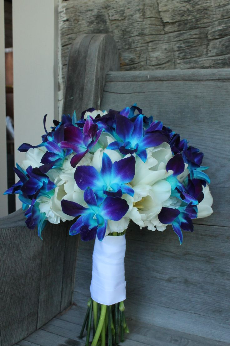 Blue orchids & White tulips | LAMMSCAPES! Floral Design ...