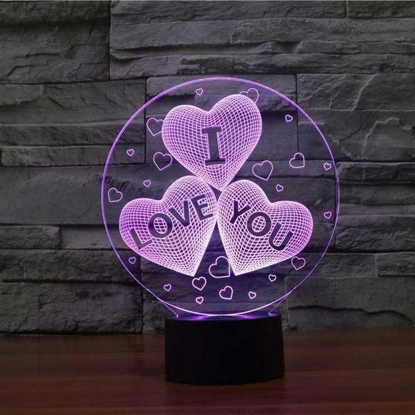 I Love You Hearts 3d Illusion Lamp 3d Night Light 3d Illusion Lamp Led Night Light