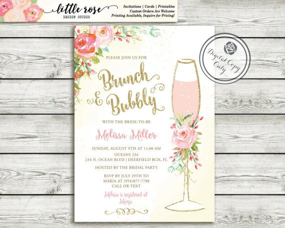 Brunch and Bubbly Bridal Shower Invitation - Brunch Invite - Wedding Shower - Hand Painted Roses - Mimosa Invitation - Printable - LR1050