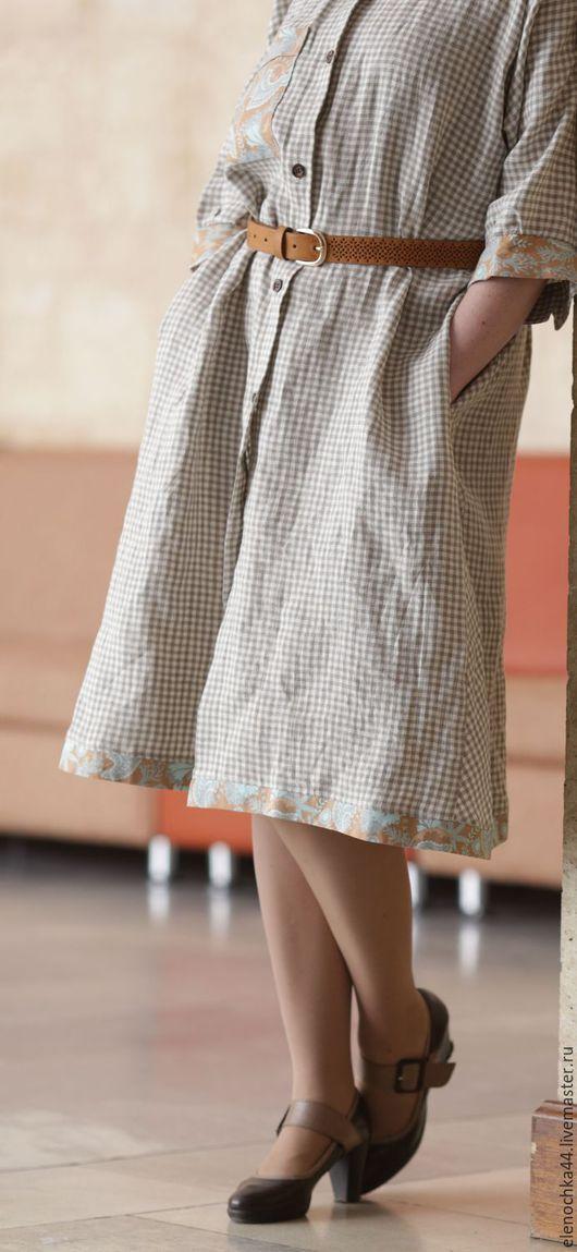 """Платья ручной работы. Ярмарка Мастеров - ручная работа. Купить Платье-рубашка """"Кентукки"""". Handmade. В клеточку, весна 2017"""
