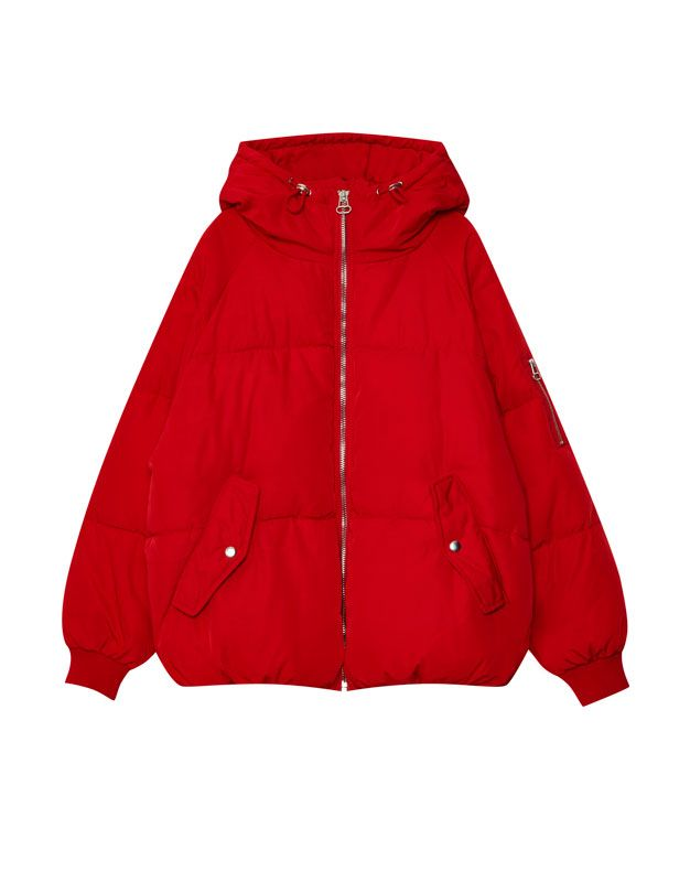 Oversized puffer jacket with hood - Coats and jackets - Clothing - Woman - PULL&BEAR Netherlands
