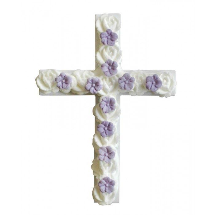 Decorative Cross - Σταυρός για δίσκο μνημοσύνου λευκός και μωβ 13.5x10 cm | Εφοδιαστική