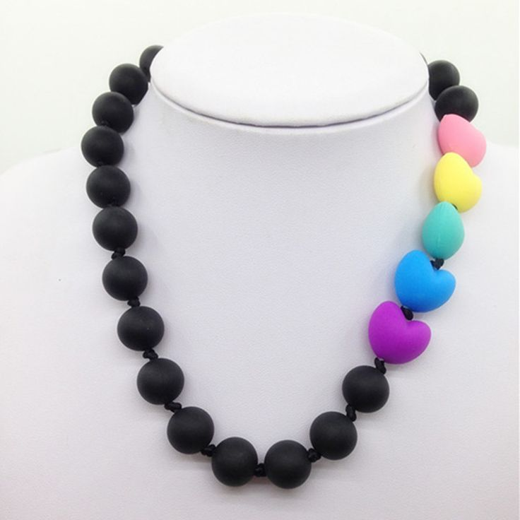 Food grade Silicone Teething Necklace with rainbow heart beads baby chew…
