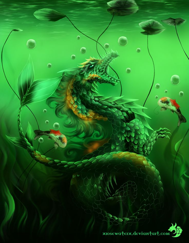 Dragon and koi by xrosewaterx on deviantart fantasy for Koi fish water