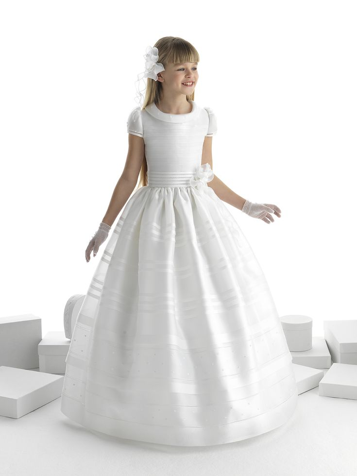 Nectarean Ball Gown Short Sleeve Hand Made Flowers Floor-length Communion Dresses