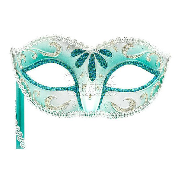 Mint Green and Silver Metallic Masquerade Mask on a Stick | Buy this... found on Polyvore
