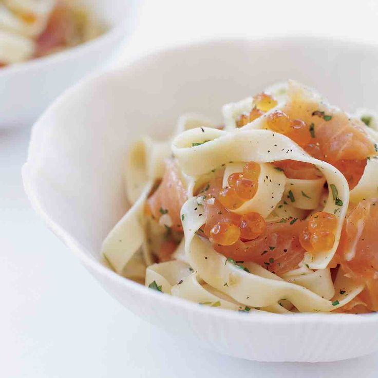 Juicy salmon eggs add a delicate crunch to this luxurious pasta dish. If you prefer a more subtle fish flavor, substitute trout roe and smoked trout f...