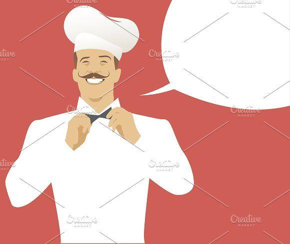 Chef with mustache & speech balloon by La Inspiratriz on @creativemarket