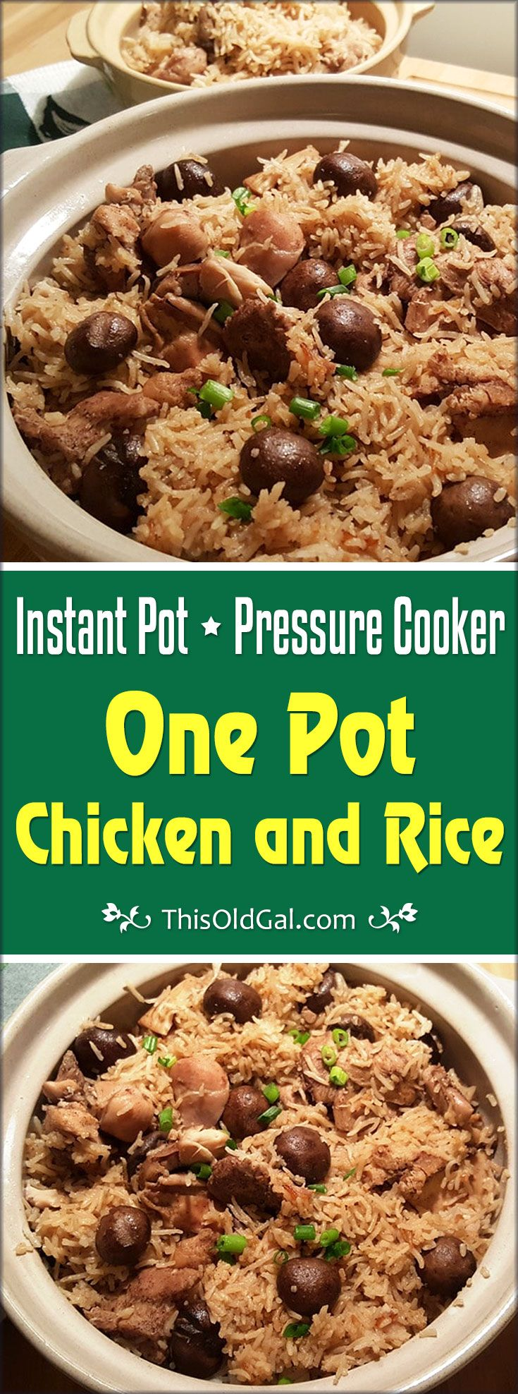 Pressure Cooker One Pot Chicken and Rice is an easy one pot meal.  Freezing chicken with the marinade will free up your time for future meals. via @thisoldgalcooks