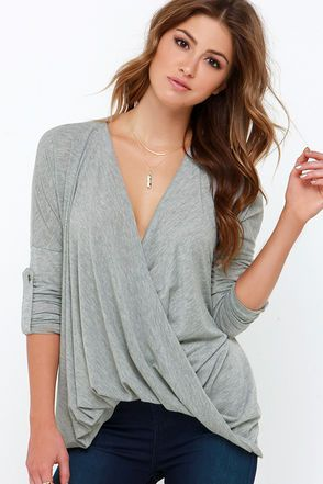 Cute Heather Grey Top - Long Sleeve Top - Plunging Top - $39.00
