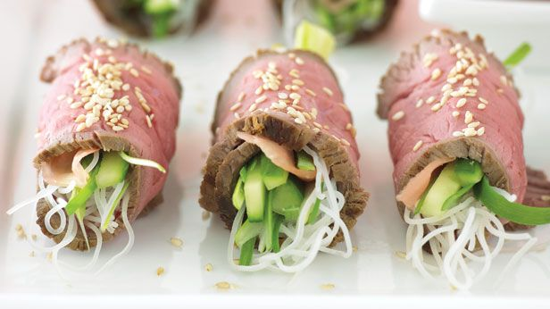Recipes + shows you how to make beef and noodle rolls.