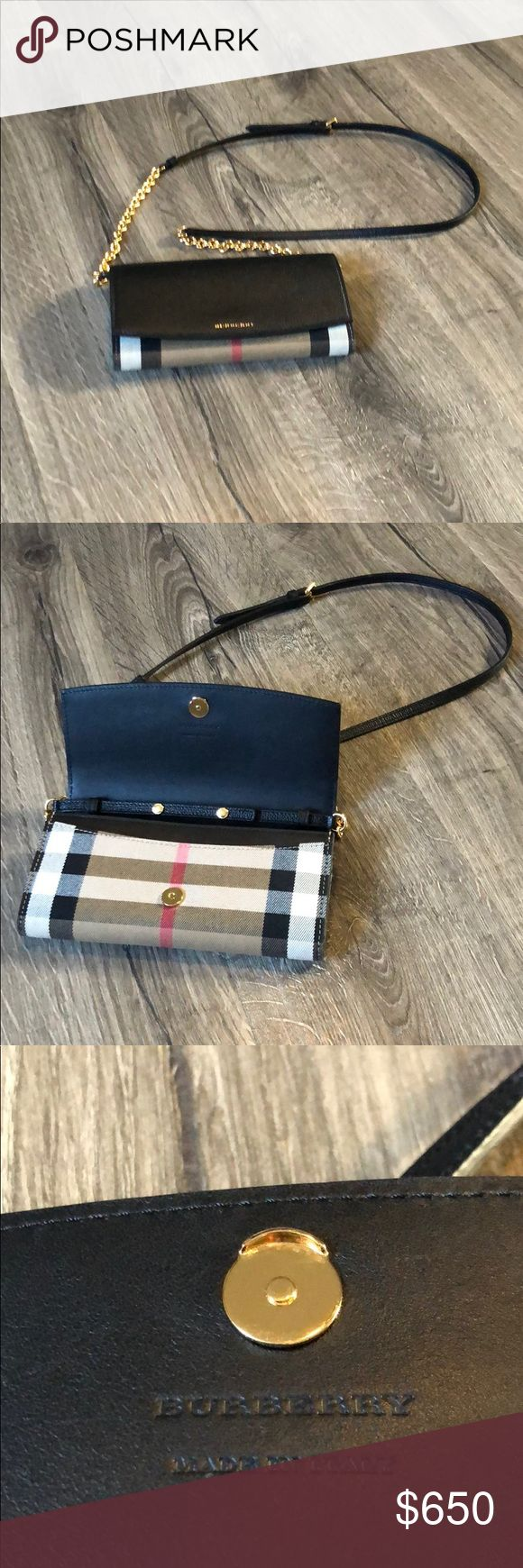 Burberry clutch/ wallet Authentic, comes with dust bag, box and gift bag. u can use it as a clutch or a wallet. The strap is removable. U can see more pictures at Burberry website. Retails 695 dollars plus tax Burberry Bags Clutches & Wristlets