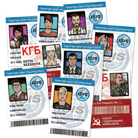 The ID cards for the whole Archer Cast!!  Super awesome!