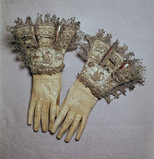 Silver embroidered gloves