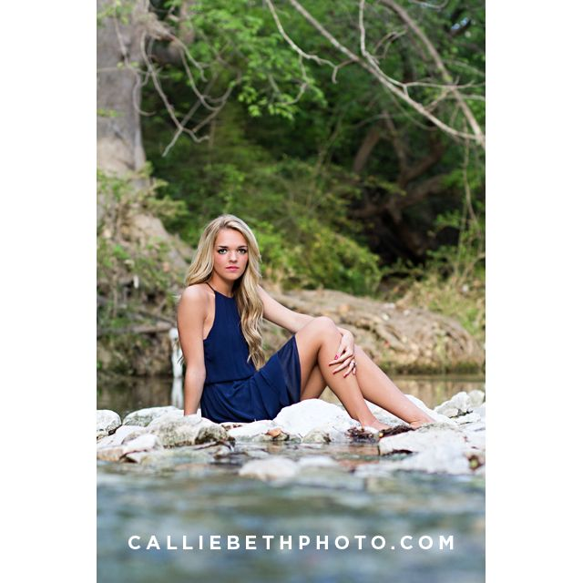 Callie Beth Photo + Design // calliebethphoto.com // #calliebethphoto // Senior, Senior Pictures, Girl Senior Pictures, Senior Picture Props, Rockwall Photographer, Dallas Photographer, Outdoor Pictures, Creek, Sitting In a Creek, Water