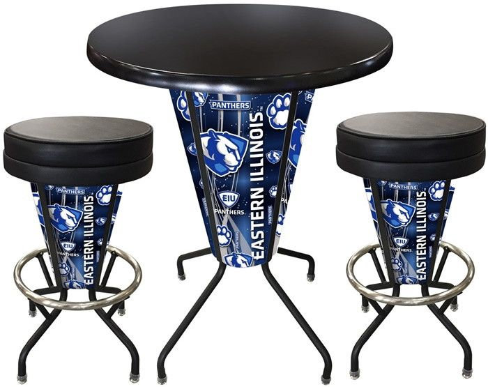 Eastern Illinois Panthers D1 Black Lighted Pub Table Set. Two additional Stools are optional. Visit SportsFansPlus.com for details.