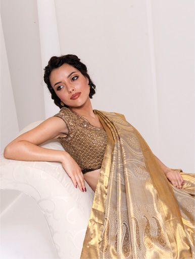 Love the ornate dressy blouse with a traditional silk sari