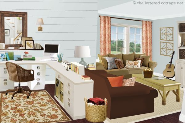 Notice The Office Living Space In A Large Room This Arrangement