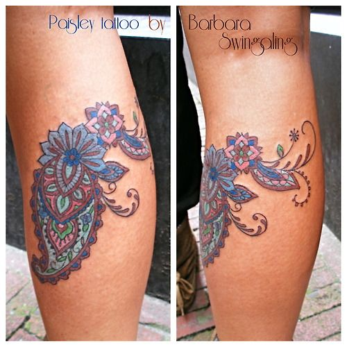 Swingaling  tattoo paisley tattoo  --> beautiful pasted color scheme