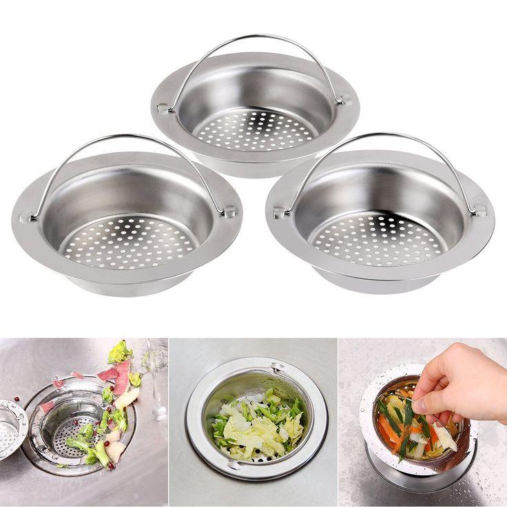 """BESTOMZ 3Packs Sink Strainer, Stainless Steel Kitchen Sink Strainer, Large Wide Rim 4.3"""" Diameter, Hand-held"""