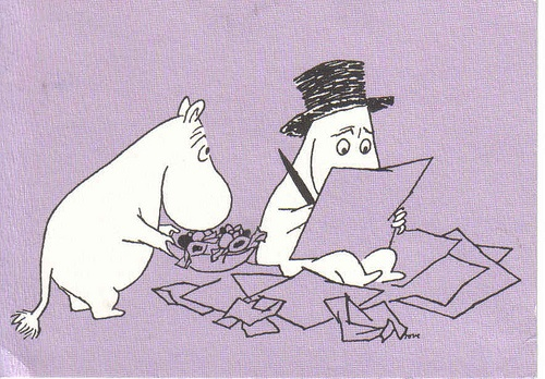 Moominpappa having a writer's block
