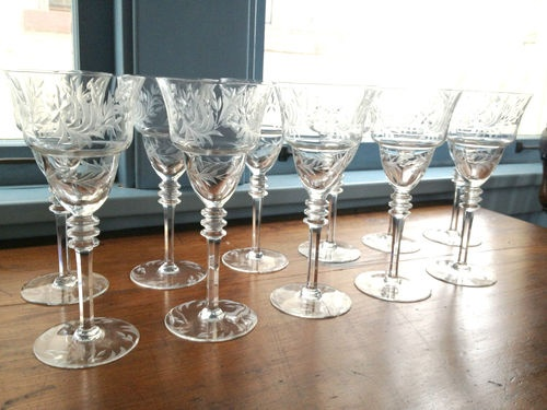 11 Hawkes Crystal Wine Glasses Antique Tiffany Waterford Champagne Stems | eBay