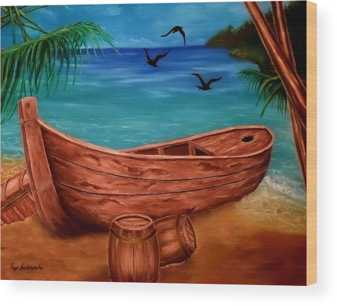 Wood Print,  piratic,coastal,scene,boat,nautical,marine,tropical,sea,shore,beach,old,wooden,palmtrees,island,sandy,summer,multicolor,colorful,blue,beautiful,image,fine,oil,painting,contemporary,scenic,modern,virtual,deviant,wall,art,awesome,cool,artistic,artwork,for,sale,home,office,decor,decoration,decorative,items,ideas