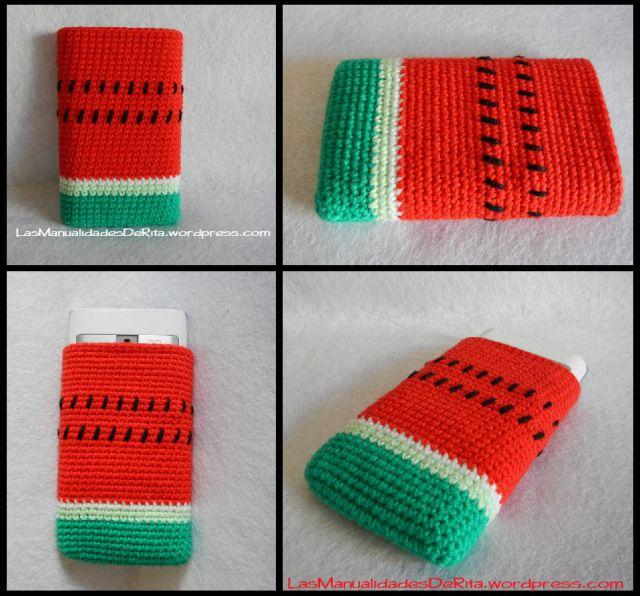 Funda móvil sandía ganchillo crochet