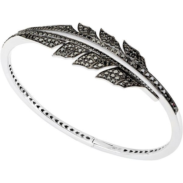 Stephen Webster Magnipheasant Black Diamond Bracelet in 18K White Gold ($11,000) ❤ liked on Polyvore featuring jewelry, bracelets, white gold jewellery, black diamond jewelry, 18k white gold bangle, stephen webster and 18k jewelry