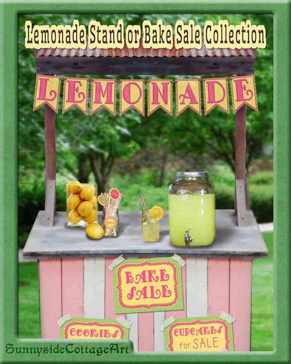 Lemonade Stand Printables  Bake Sale by SunnysideCottageArt