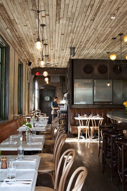 ~ Five Leaves | Brooklyn #restaurant #design #wood #restored #