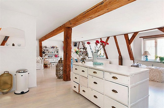 love the exposed boards and adore the whiteDining Room, Interiors Design, Kitchens Ideas, Barbie Dreams, White, Kitchens Islands, Cottages, Interiors Decor, Wood Beams