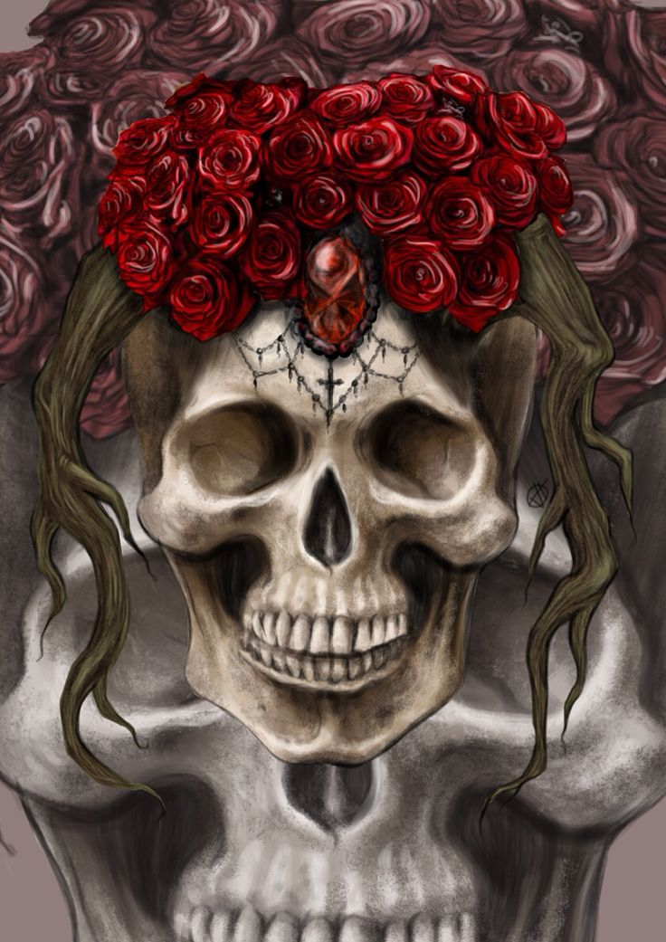 """""""Skull and red roses"""" •••••••••••• New products available in my online shop at http://society6.com/valentinatesta """"Skull and red roses"""" t-shirts, tops, bags and more!"""